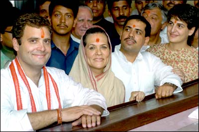 Sonia with son Rahul on her right and son-in-law Robert Vadra and daughter Priyanka on her left.
