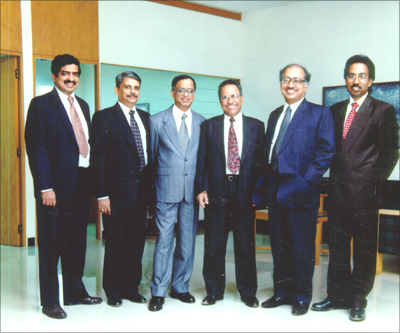 (L to R): Nandan Nilekani, S Gopalakrishnan, N R Narayana Murthy, K Dinesh, N S Raghavan, Shibulal