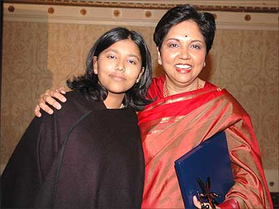 Indra Nooyi seen here with her daughter.