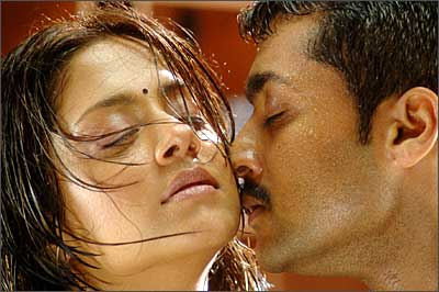 rediff com surya jyothika romance on screen