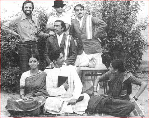 Shyam Benegal, left, standing, with the cast of Nishant.