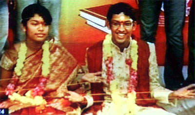 Srija and Sirish on their wedding day