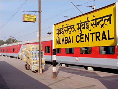 Mumbai-New Delhi Rajdhani Express at the Mumbai Central railway station.