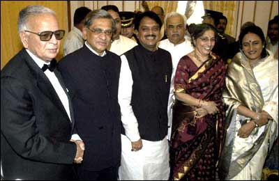 S M Krishna (second from left)