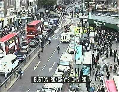 Traffic camera image from video of the Russell Square area of central London following an explosion on board a bus on July 7, 2005.