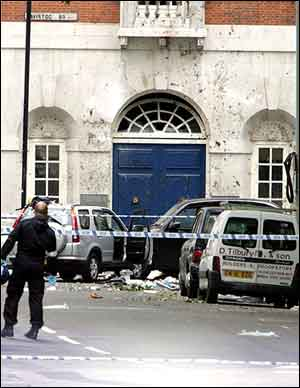 The scene at Tavistock Square, London, following a bus explosion.