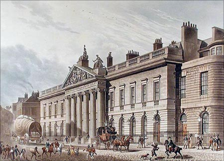East India House in Leadenhall Street, London, as drawn by Thomas Hosmer Shepherd, circa 1817