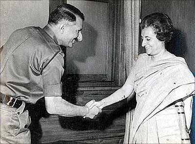 Then prime minister Indira Gandhi with General S H F J Manekshaw, then the chief of the army staff.